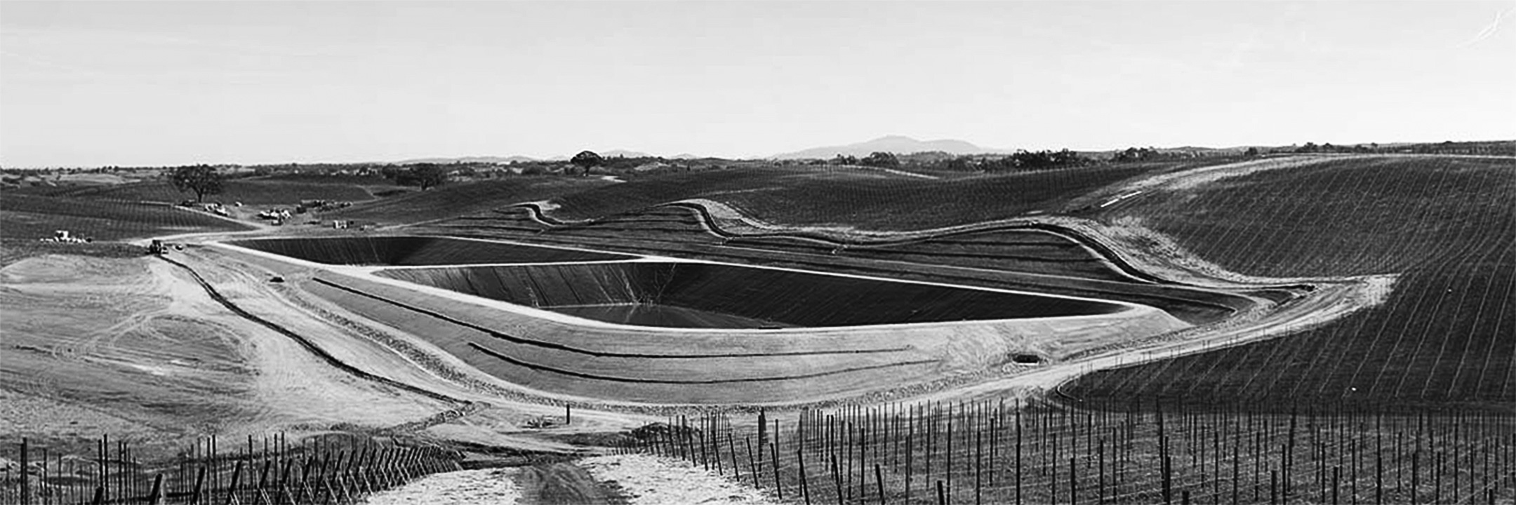 Geomembrane lining for a California vineyard